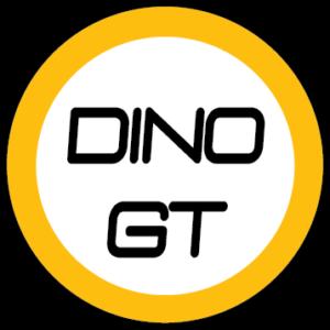 Logo DINOGT de forme ronde avec un bord orange